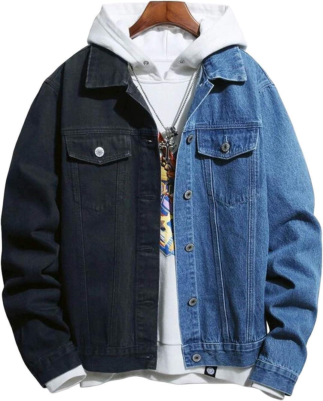 chouyatou Men's Loose-Fit Stylish Contrast Color Spliced Spring Denim Trucker Jacket