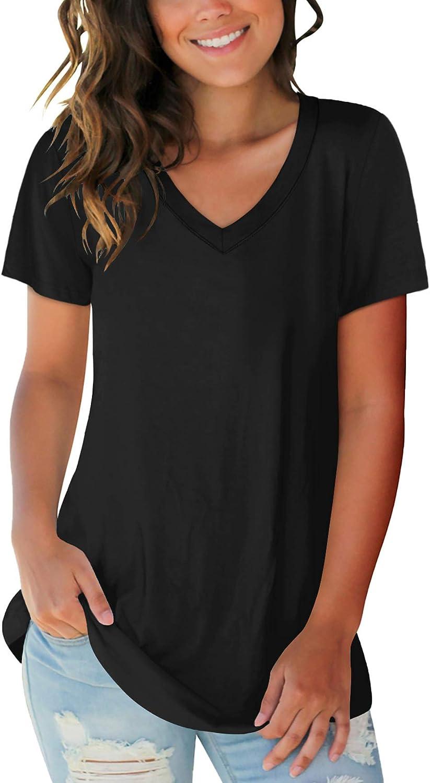 SAMPEEL Women's Basic V Mesa Mall Reservation Neck Short T Shirts Casual Sleeve Summer