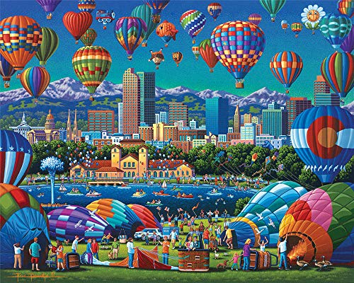 1000 Pieces Adults Jigsaw Puzzle, City With Hot Air Balloon Brain Challenge Kids Toy Games