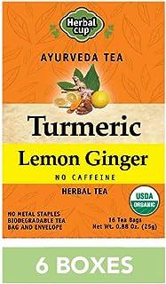 HERBAL CUP TURMERIC LEMON GINGER TEA - 6 Pack, 96 Tea Bags Total ORGANIC