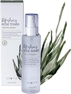 DeVita Refreshing Rose Face Toner with Witch Hazel and AloeHyplex - daily vegan anti aging facial toner for sensitive skin, oily-acne, mature, dry or combination skin -5 fl.oz