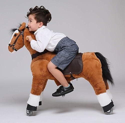 UFREE um fürendes Schaukelpferd, Kuscheltier, Pony auf Rollen, Geburtstagsgeschenk für Kinder 4-9(Schwarz M e und SchWeiß