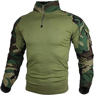 Camiseta de Combate táctica para Hombres, Camisa Multicam Transpirable Ripstop para Caza Militar Airsoft