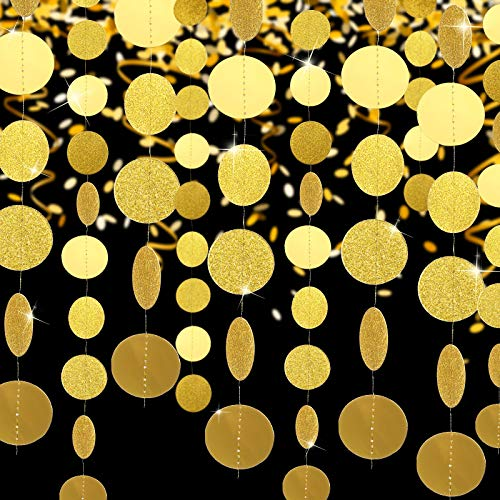 10 Pieces 131 ft Glitter Paper Circle Dots Circle Garlands Coin Garland Hanging Banners Dot Streamers Backdrop Background Decor for Valentine's Day Wedding Party Supplies (Champagne Gold)