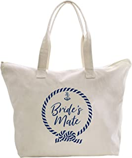 ElegantPark Bride's Mate Bridesmate Tote Nautical Anchor Wedding Bachelorette Bridal Shower Gifts Shoulder Bags with Zipper Interior Pocket Cotton