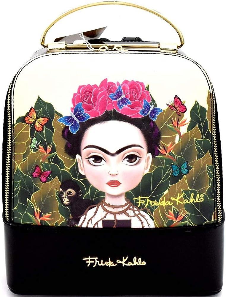 Authentic Baby Frida Cartoon Version Frida Kahlo Front Pocket Medium PU Leather Backpack