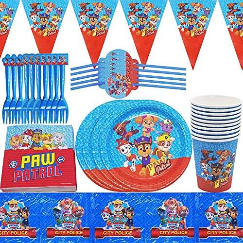 Suministros de fiesta Patrulla Canina, platos de papel, servilletas, tazas, pajitas, decoración de cumpleaños, decoración de feliz cumpleaños, cadena de fiesta, guirnalda de banderines, 62 piezas