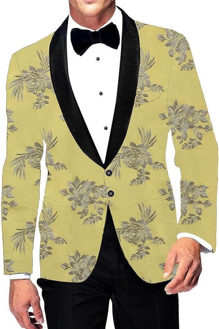 INMONARCH Embroidered Slim fit Yellow Shawl Collar Sport Jacket Coat Blazer SBM1032