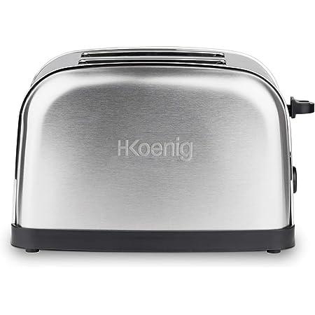 H.Koenig TOS7 Grille Toaster 2 Tranches Fentes Larges INOX Vintage, 6 Niveaux de brunissage, Décongélation, Rapide et Uniforme, Pain et Viennoiserie, Nettoyage Facile, 850 W, Argenté