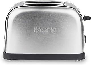 H.Koenig TOS7 Grille Toaster 2 Tranches Fentes Larges INOX Vintage, 6 Niveaux de brunissage, Décongélation, Rapide et Unif...