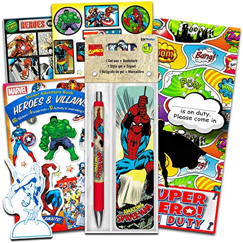 Marvel Superhero Gel Pen & Bookmark with Over 296 Stickers Featuring Spiderman, Captain America, Thor, Iron Man and More (Marvel Hero Party Supplies)