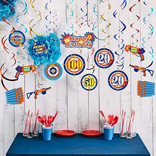 50 Pieces Dart War Party Decorations Dart Gun Happy Birthday Hanging Swirls Ceiling Decoration Target Bullseye Shiny Foil Swirls Hanging Decoration for Dart War Gun Party Supplies Ceiling Decor