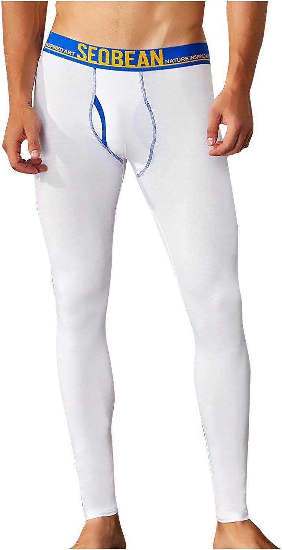 Nopeak Winter Warm Base Underwear for Men,Cotton Long Johns Pants,Rib Stretchy Long Compression Pants for Men