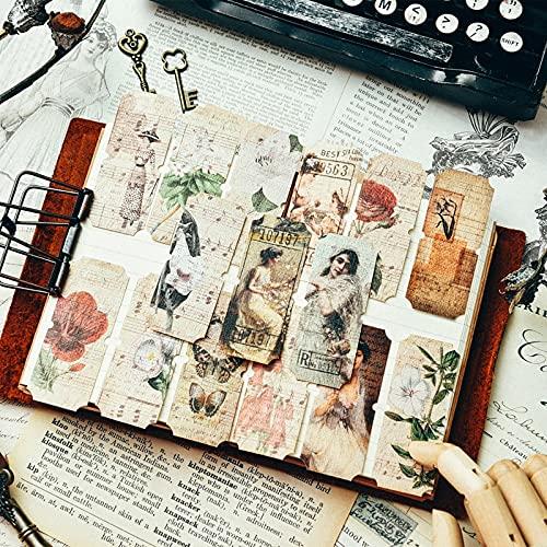 70 unids/Lote Retro Lady Plant Stamp Tag Sticker Decor Scrapbooking Vintage Bill Recibo Flor Memo Hecho a Mano BulletJournal Material