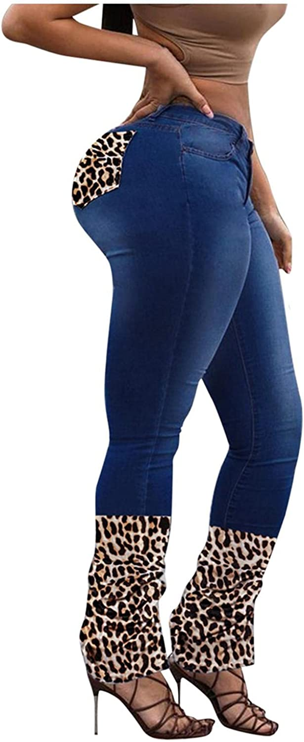 FUNEY Women's High Waisted Skinny Destroyed Ripped Hole Denim Pants Butt Lift Buffalo Plaid Patchwork Stretch Pencil Jeans