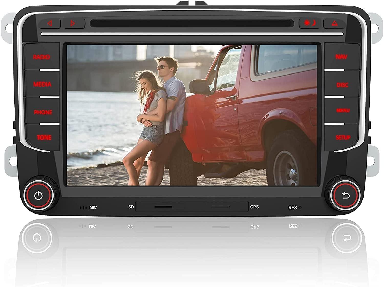 AWESAFE Radio Coche 7 Pulgadas con Pantalla Táctil 2 DIN para Volkswagen, Autoradio para VW Passat Seat Golf Skoda y etc. con Bluetooth/GPS/FM/RDS/CD DVD/USB/SD/RCA, Apoyo Mandos Volante