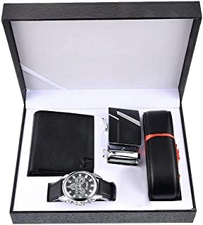 Souarts Birthday Gifts for Men-Watch Set for Men Artificial Leather Watch, Rachet Belt, Wallet and Mens Gifts Set Gifts Box Organizer