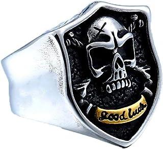 EXCOW خواتم الجمجمة الحظ الجيد للرجال الفولاذ المقاوم للصدأ سيجنيت بانك القوطي سائق الدراجة مجوهرات