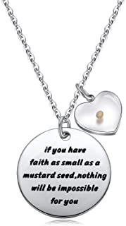 Ukodnus Mustard Seed Charm Necklace Jewelry Inspirational Christian Gift for Women Girls Faith As Small As A Mustard Seed ...