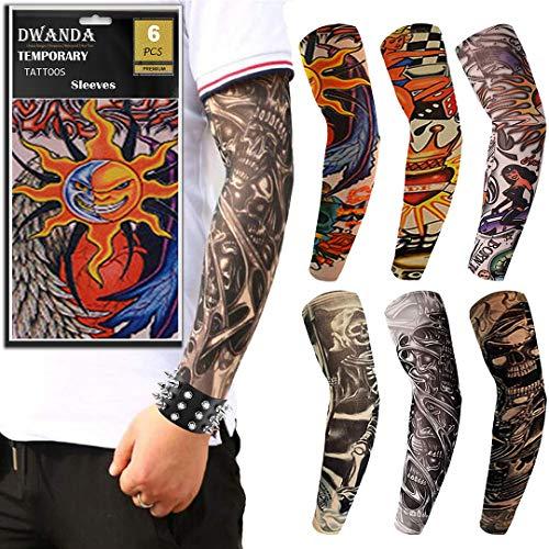 SEA CHANCE® Tattoo Ärmel, 6 Stück Tatoo Armstrümpfe, Punker Accessoires, Rockabilly Accessoires