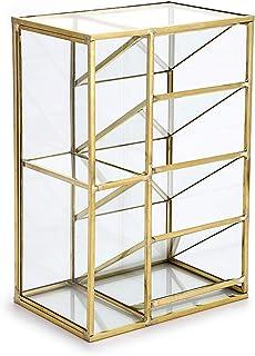 Hipiwe Vintage Gold Metal Desk Organizer - Glass Make up Brushes lipstick Holder Dresser Organizer Pen Pencil Storage Hold...