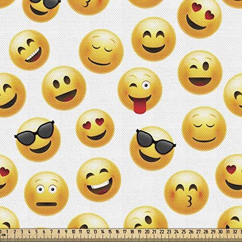 ABAKUHAUS Emoticon Gewebe als Meterware, Lächelnde Gesichter Gefühle Kunst, Schön Gewebten Stoff für Polster und Wohnaccessoires, 2M (148x200cm), Gelb Schwarz Rot
