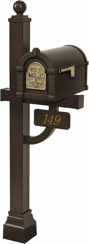 Gaines - Fleur De Lis Keystone Series Custom Mailbox Set (Bronze