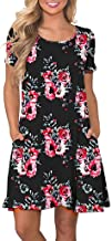 Behkiuoda Women Summer Floral Printed Dress with Pockets Short Sleeve Beach Sundress Casual Swing Dress