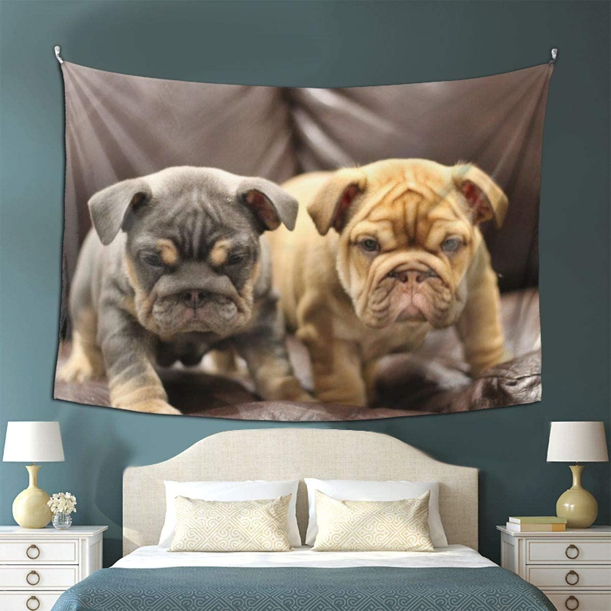 Amazon Com Gonghe Puppies Bulldog Tapestry Wall Hanging 3d Printing Blanket Wall Art For Living Room Bedroom Home Decor 80x60in Home Kitchen