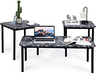 Tangkula 3 PC Coffee Table Set, Modern Faux Marble-Look Top End Table Set, Home Living Room Furniture Indoor & Outdoor Décor Coffee Table Set, End Table Set