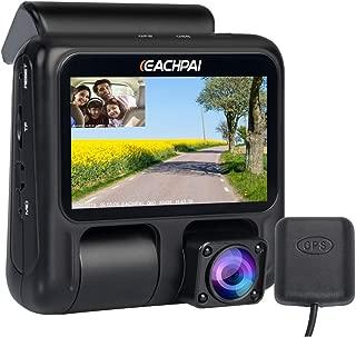 EACHPAI Dual Dash CAM, X100 Pro Dash Camera para automóviles/Lyft/Camión/Taxi 1920X1080P con Sensor Sony, visión Nocturna Infrarrojos, supercondensador, Gran Angular, Registro de Bucle, WDR, GPS