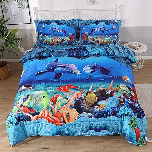 Qucover Blue Ocean Comforter Set, 3D Dolphin Bedding Sets Toddle Bedding 1 Bed Comforter+2 Pillow Shams for Children Kids Boys Girls Queen Size