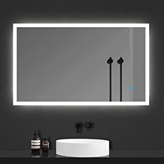 Xinyang Miroir de Salle de Bain Miroir cosmétique avec éclairage LED économe et antibuée 120x70cm réversible IP44 avec Com...