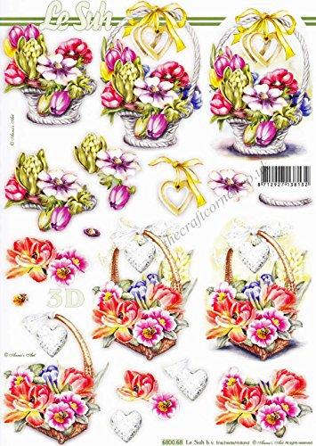 Baskets of Beautiful Flowers Die Cut 3d Decoupage Sheet