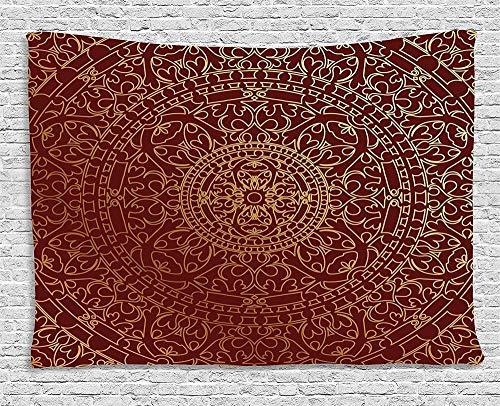 QAZX Tapiz Granate, Obra de Arte árabe Antigua, Mandala Oriental Inspirado, Adorno Redondo, Colgante de Pared étnico marroquí para Dormitorio, Sala de Estar, Dormitorio 200x150cm