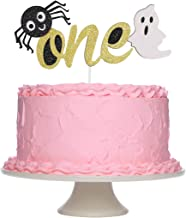 Halloween One Gold Glittery Cake Topper for Halloween Spider Ghost Themed Birthday Party Supplies, 1st Birthday Cake Decor...