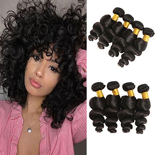 Huarisi Onde Lâche cheveux 4 paquets cheveux Brésiliens virginals tissages 100% non-transformé Vrais Cheveux Humains extensions épais trame 12 14 16 18 pour les femmes