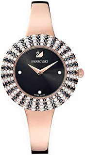 Swarovski Authentic Crystal Rose Watch Metal Bracelet Black Crystal Rose-Gold Tone PVD