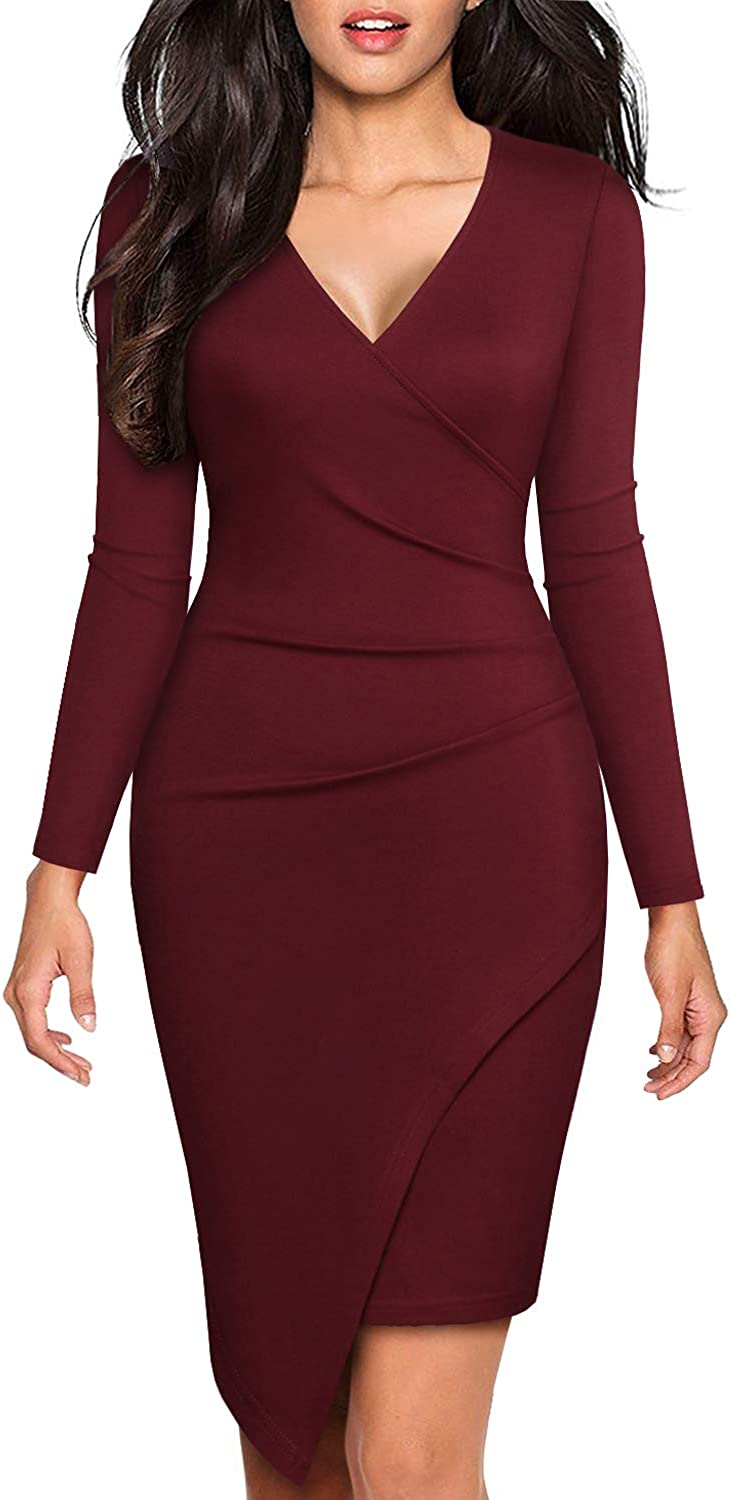 BOKALY Women Bodycon Dress Party Casual V Neck Ruched Wrap Pencil Cocktail Dresses 258
