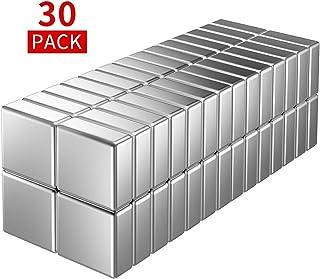 Imanes de neodimio, 30 unidades, dados temporales, muy fuertes, 10 x 10 x 4 mm, ideal para pizarra magnética, nevera, pizarra magnética, tablón de anuncios no de cristal, con caja de almacenamiento