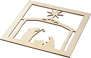 Genie Crafts 2-Piece Unfinished Wooden Nativity Scene Cutout, Christmas Wall Art Decor for Painting, DIY Wood Crafts, and Signs, 11.6 x 0.2 Inches