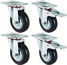 Forever Speed 4 x 100 mm transportwielen industriële zware wielen zwenkwielen en zwenkwielen met rem draagvermogen 210 kg...