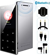 MP3 Player - 2019 October Updated Model, Bluetooth 4.2 Metal Touch Button Sports Music Player, 65 Hours Playback, Build in Speaker, Voice Recorder FM Radio, Expandable 128GB TF Card, N29-Silver