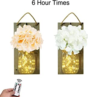 Decem Rustic Grey Mason Jar Sconce for Wall Decor, 30 LED Chic Hanging House Decor Mason Jars with LED Strip Lights, Silk Hydrangea, Iron Hooks for Home & Kitchen Decorations(Set of 2) (Rustic Grey)