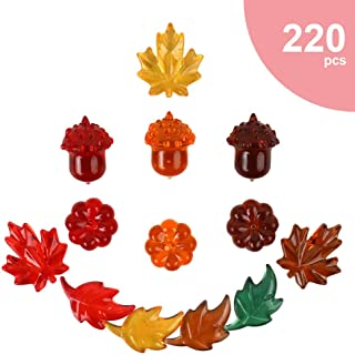 Acrylic Leaves Fall Vase Filler - 220pcs Mixed 5 Color Acrylic Plastic Mini Pumpkins Fall Acrylic Mini Leaves Acrylic Acorns table scatters for Crafts Vase Filler for Fall Harvest Halloween Decor