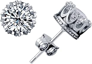 Celebrity Jewellery 925 Sterling Silver Shining AAA Cubic Zirconia Crown Solitaire Stud Earrings for Women
