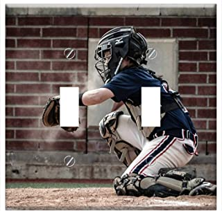 Switch Plate Double Toggle - Catcher Baseball Youth Sport Ball Player Game