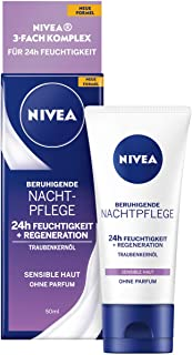 NIVEA 24h Moisture + Regeneration nattkräm för känslig hud med druvkärnolja och lakritsextrakt, 50 ml