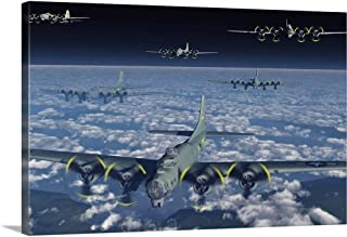 GREATBIGCANVAS Gallery-Wrapped Canvas Entitled American B-17 Flying Fortress Bombers Flying in Formation by 48