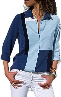 Mogogo Womens Casual Chiffon Stitching Stripes Button Tunic Top Blouse